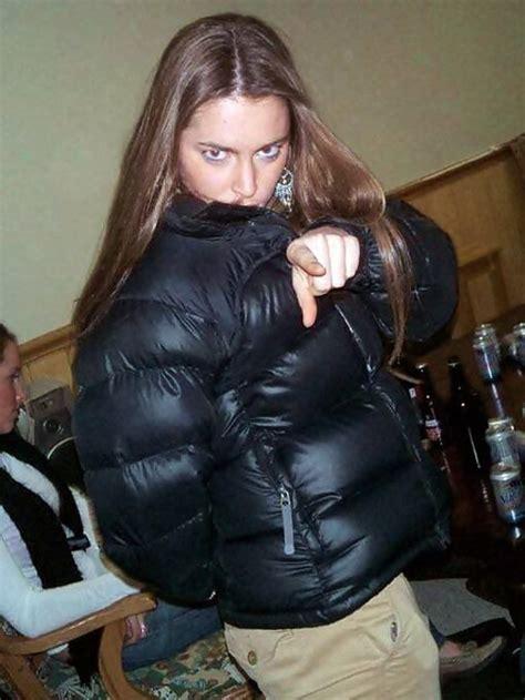 Zipped Into Her Black Nuptse Down Fetish Jackets