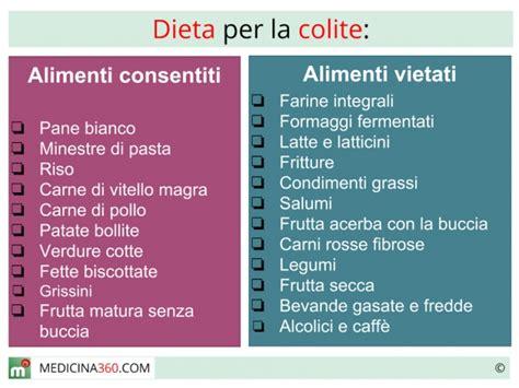 dieta  colite cibi da evitare ed alimentazione corretta
