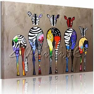pas cher zebre pop art peintures a l39huile toile peinte a With panneau de couleur peinture murale 5 tableau abstrait abstract face