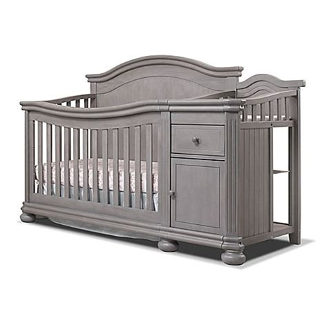 baby crib with changer sorelle finley crib changer in weathered grey buybuy baby