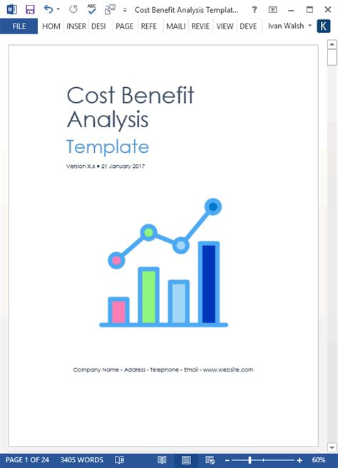 cost benefit analysis template ms wordexcel templates