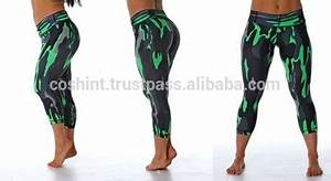 Lime Green Camouflage Crop Tight Legging For Gym Wears