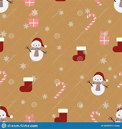 Wrapping Gift Paper Snowman Pattern Candy Seamless