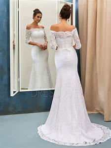 Stunning off the shoulder 3 4 length sleeves mermaid for Wedding dresses with sleeves cheap