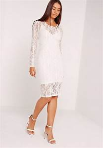 lace long sleeve binded midi dress white missguided With robe blanche pimkie