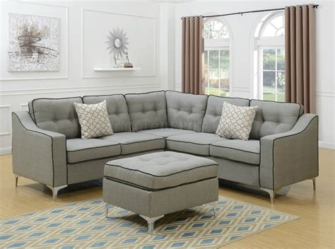 Light Gray Sectional Sofa by F6998 Sectional Sofa In Light Gray Fabric W Ottoman By