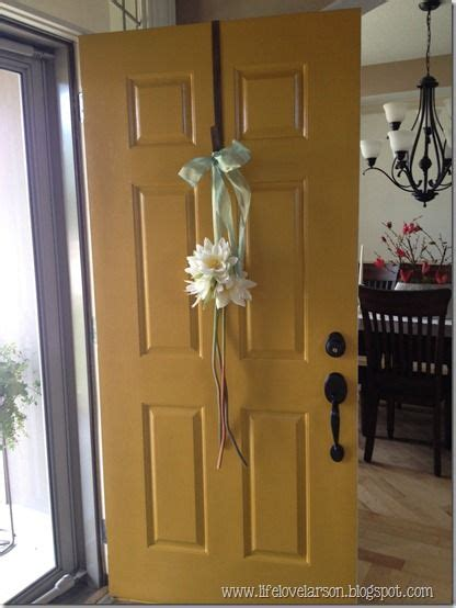 mustard yellow front door golden leaf  behr home