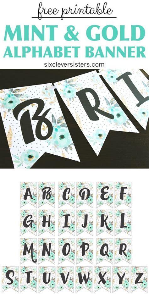 printable alphabet banner mint gold printable