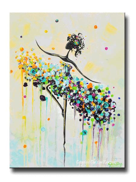 giclee print art abstract painting dancer blue aqua canvas