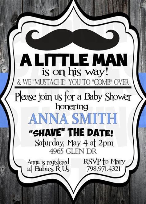 mister mustache baby shower invitation  man