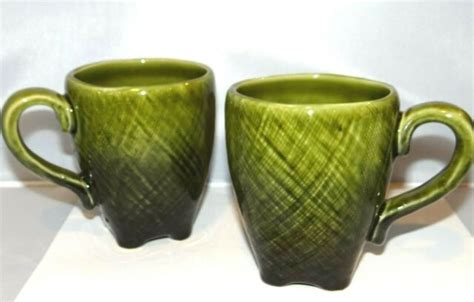 Get it while it's hot! TARGET HOME Coffee Cups Mugs Set of 2 Green Cosshatched ...