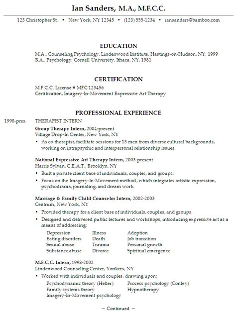 Counseling Resume Objective by Resume For An Mfcc Therapist Susan Ireland Resumes