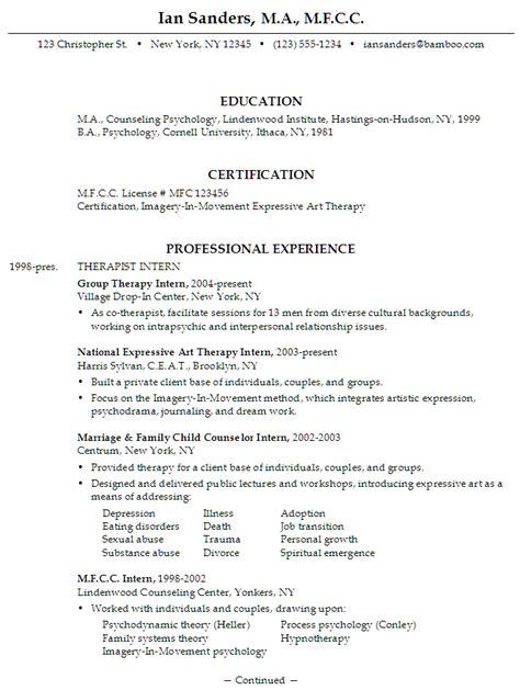 Resume Mfcc Therapist