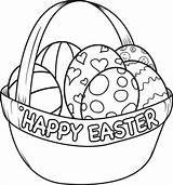 Easter Coloring Pages Happy Basket sketch template