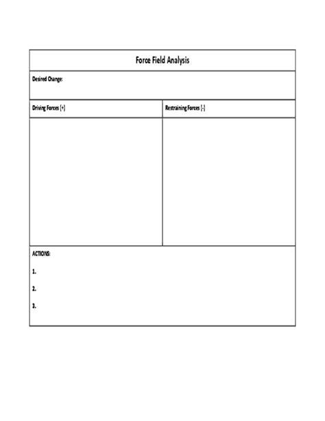 field analysis diagram template field analysis chart free