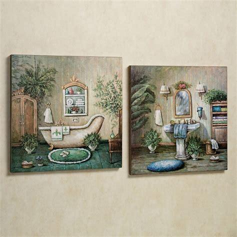 blissful bath wooden wall art plaque set   wall