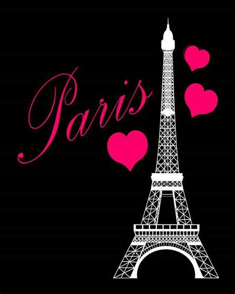 paris eiffel tower pink black bedroom print wall art decor