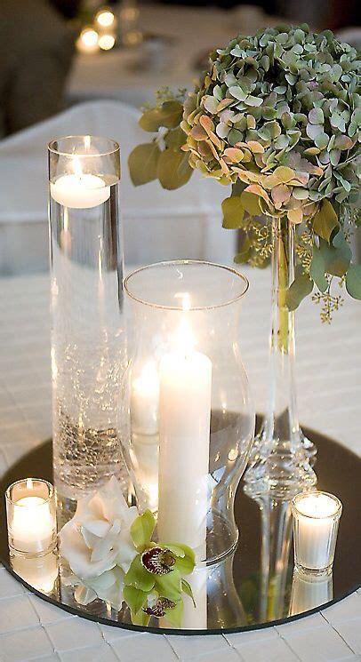 bougie miroir  verre en  deco table mariage