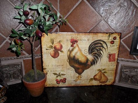 French Country Tuscan Rooster Metal Sign Plaque Wall