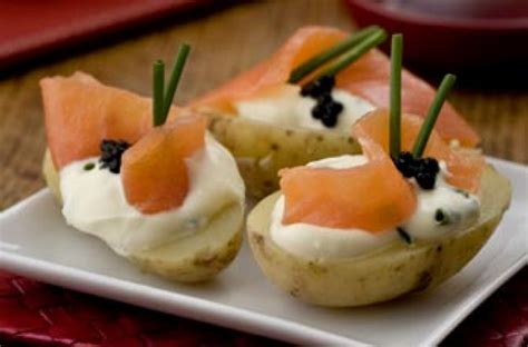 cheap easy canapes salmon and caviar topped potatoes 39 s weekly recipe