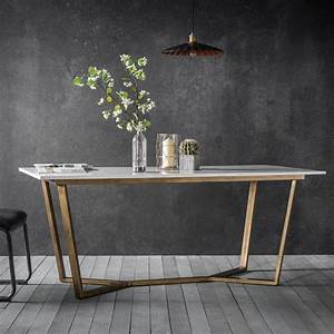 Gatsby Marble Dining Table White & Gold Modern Dining