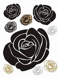 Rosen Tattoos Schwarz : flock wandtattoo wandsticker tattoo wanddeko blumen rosen schwarz gold ~ Frokenaadalensverden.com Haus und Dekorationen