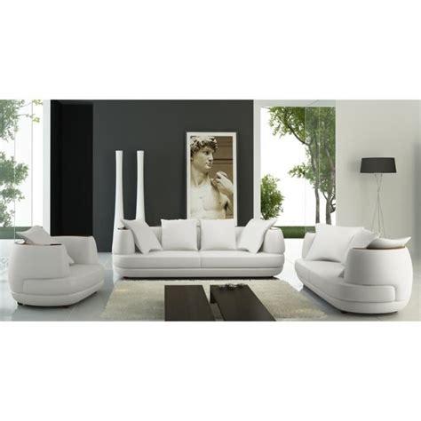 canapé en cuir blanc ensemble canapé 3 2 1 places en cuir blanc ryga achat