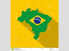 Brazil Flag On Brazilian Map, Icon Flat Style Stock Vector
