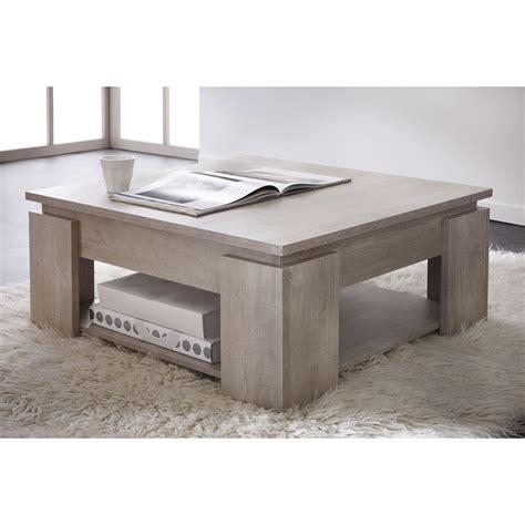 bureau chene massif moderne table basse carrée en bois l80 x h36 cm segur port offert