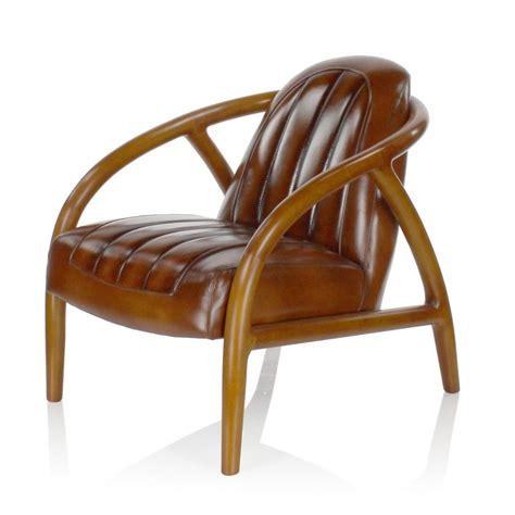 fauteuil cuir vintage et bois triomphe saulaie