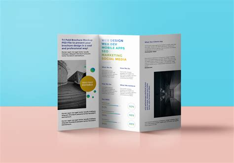 tri fold brochure mockup psd graphicsfuel