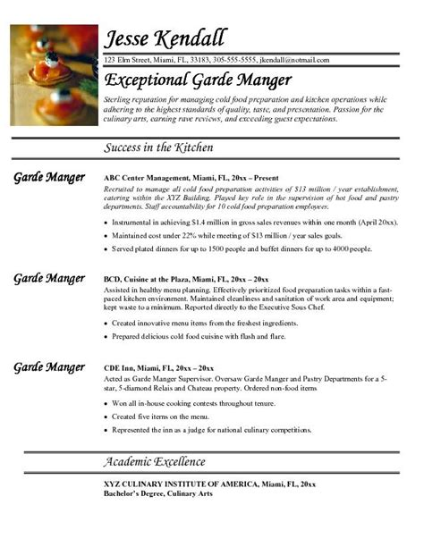 creative resumes for chefs sle cover letter how to write a cover letter garde manger chef