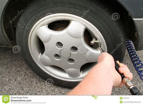 Flat Tyre Pump Air Stock Image