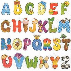 4 single paper decoupage napkins alphabet letters kids With kids letters