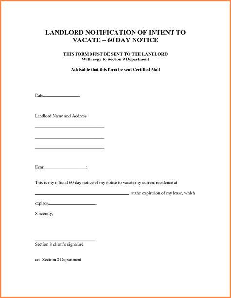 day notice letter  landlord sample notice letter