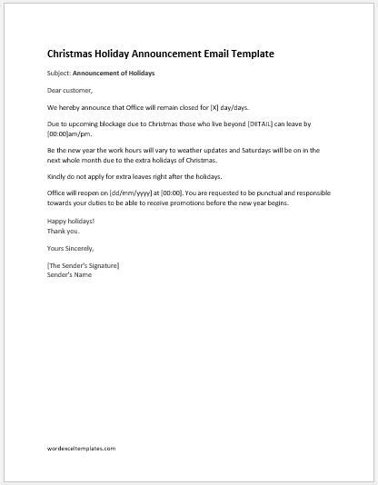 office closed  holidays email template word excel