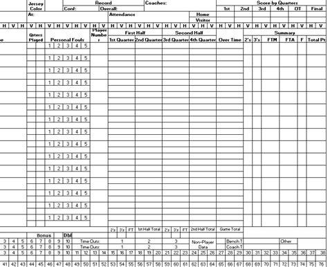 sample basketball score sheet samples printable