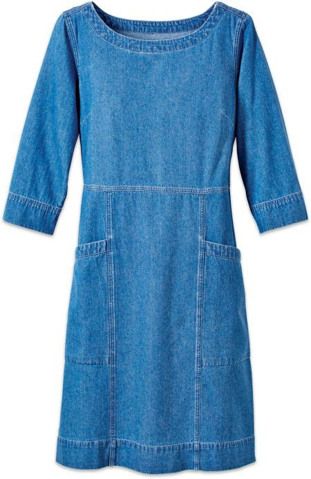 Boat Neck Denim Dress by Denim Pullover Dress With Boat Neck