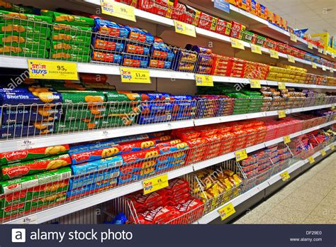 """Biscuits and Cookies in a """" Home Bargains """" store Stock"""