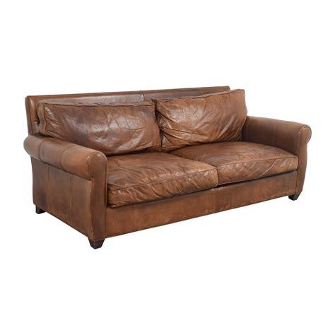 74 Off Arhaus Arhaus Rust Leather Two Cushion Sofa Sofas