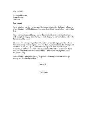 Library volunteers can use this sample resignation letter to withdraw from service and