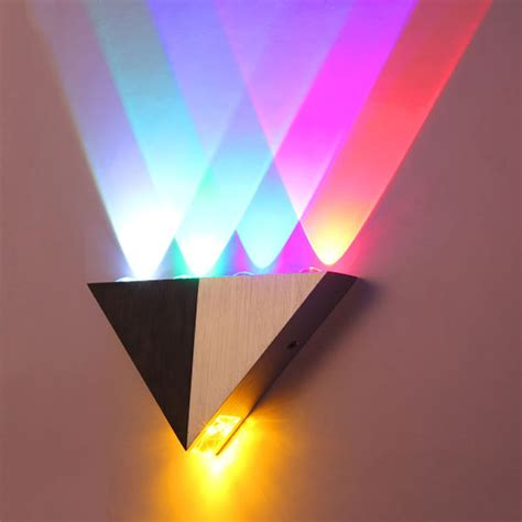 colorful 5w aluminum triangle led wall light l modern home lighting indoor outdoor decoration