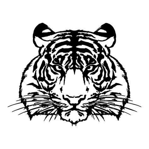 tiger head drawing silhouette vector