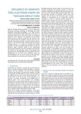 influence  graphite tool electrode shape  twr  mrr  edm mm science journal