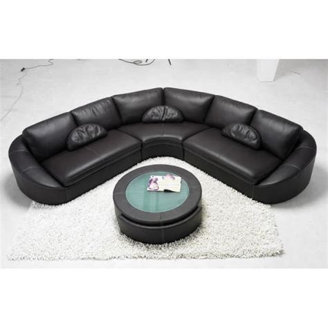 canape angle arrondi canapé d 39 angle en cuir noir arrondi achat vente canapé