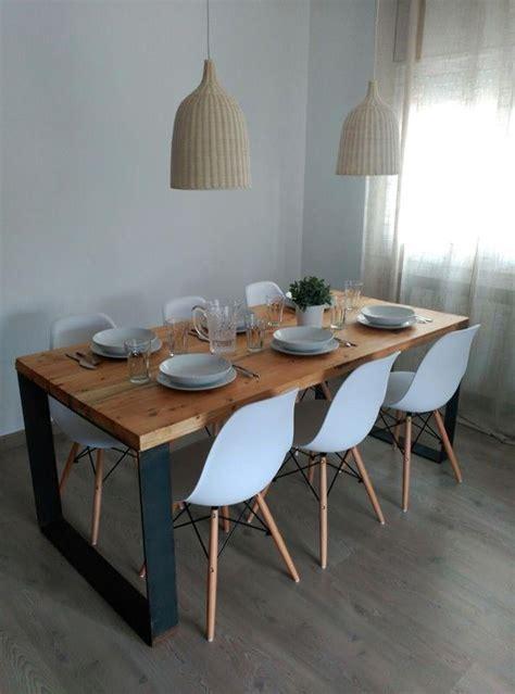 mesa comedor industrial madera  hierro xx