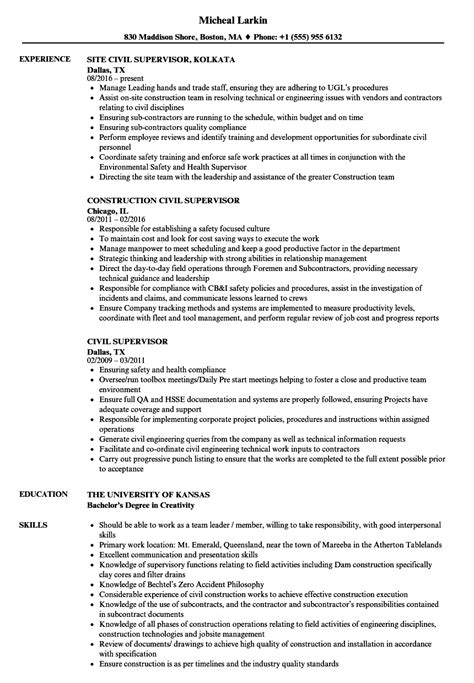 civil supervisor resume sles velvet