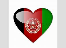 AfghanistanFlagge in Herzform auf weißem Hintergrund