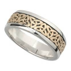 mens wedding ban wedding band 10k gold and sterling silver mens celtic knot ring single