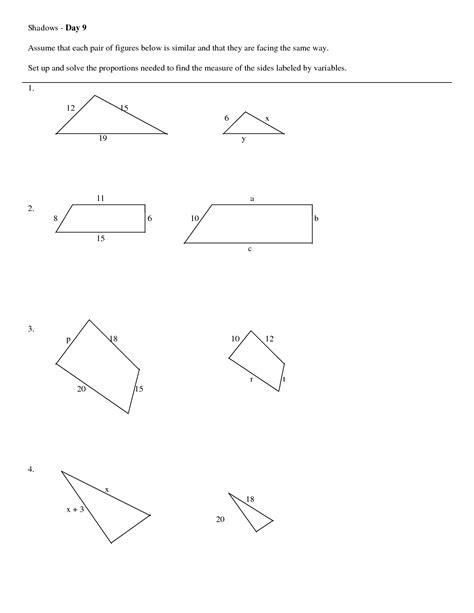 11 Best Images Of Similar Triangles Worksheet Middle School  Similar Figures Proportions